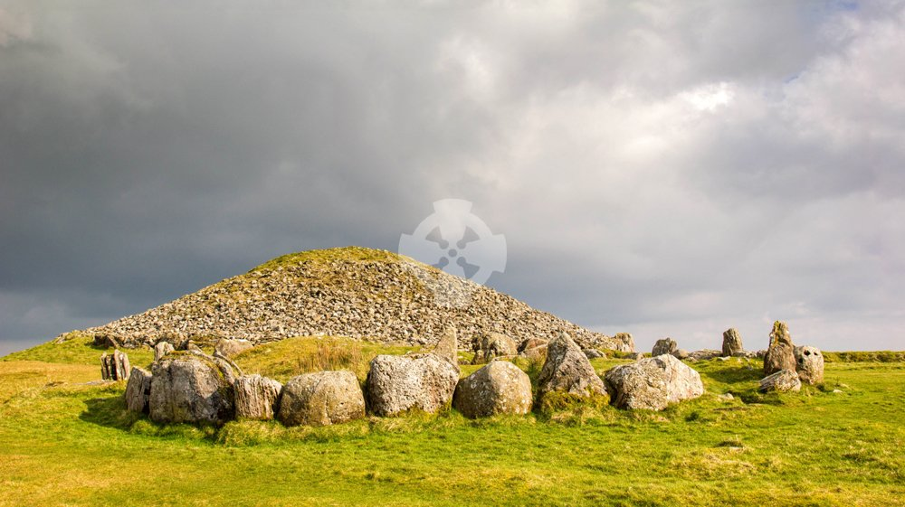 Image showing stone circle on the west side of Cairn T, Loughcrew
