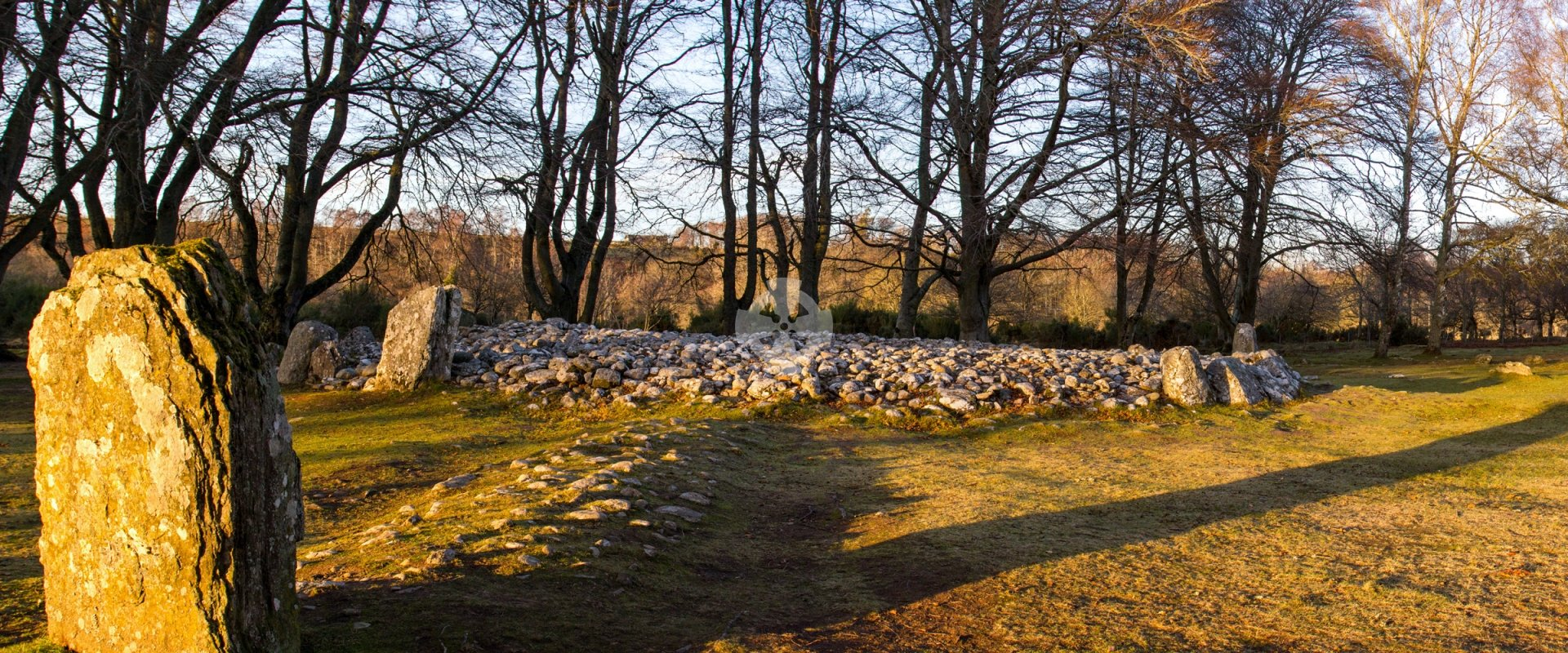 Clava Cairns, Inverness, in winter sunset light