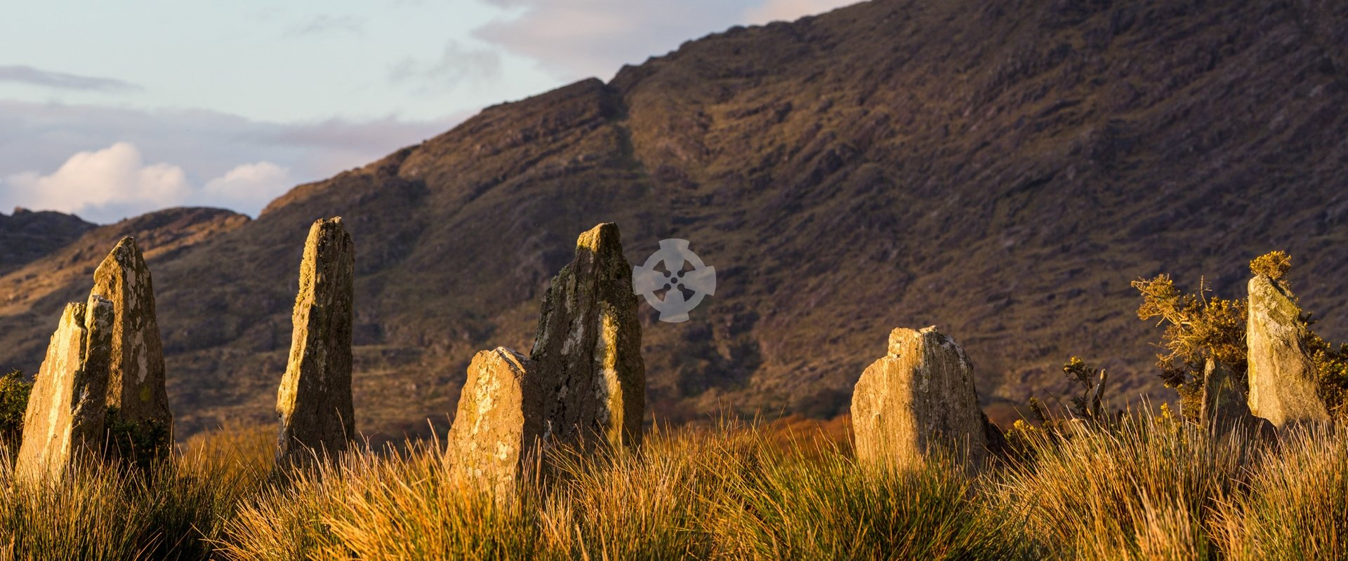 photo of ardgroom stone circle in sunset light