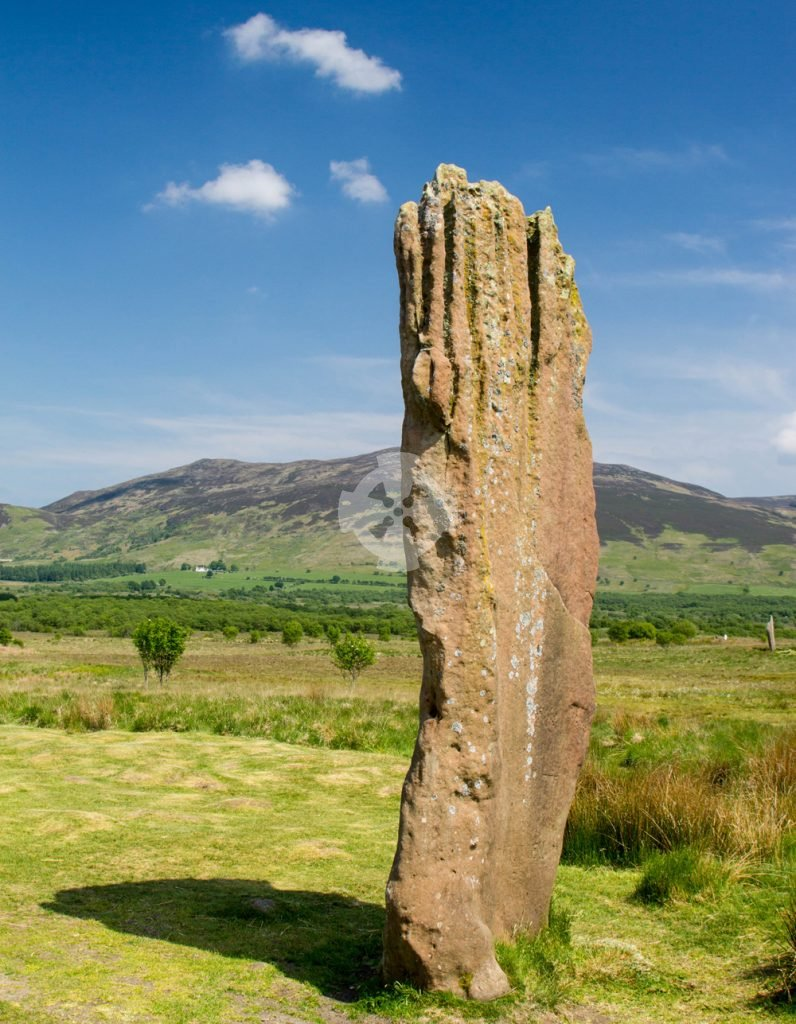 Image showing a large fluted standing stone, part of stone circle no.3 at Machrie Moor, isle of Arran, Scotland