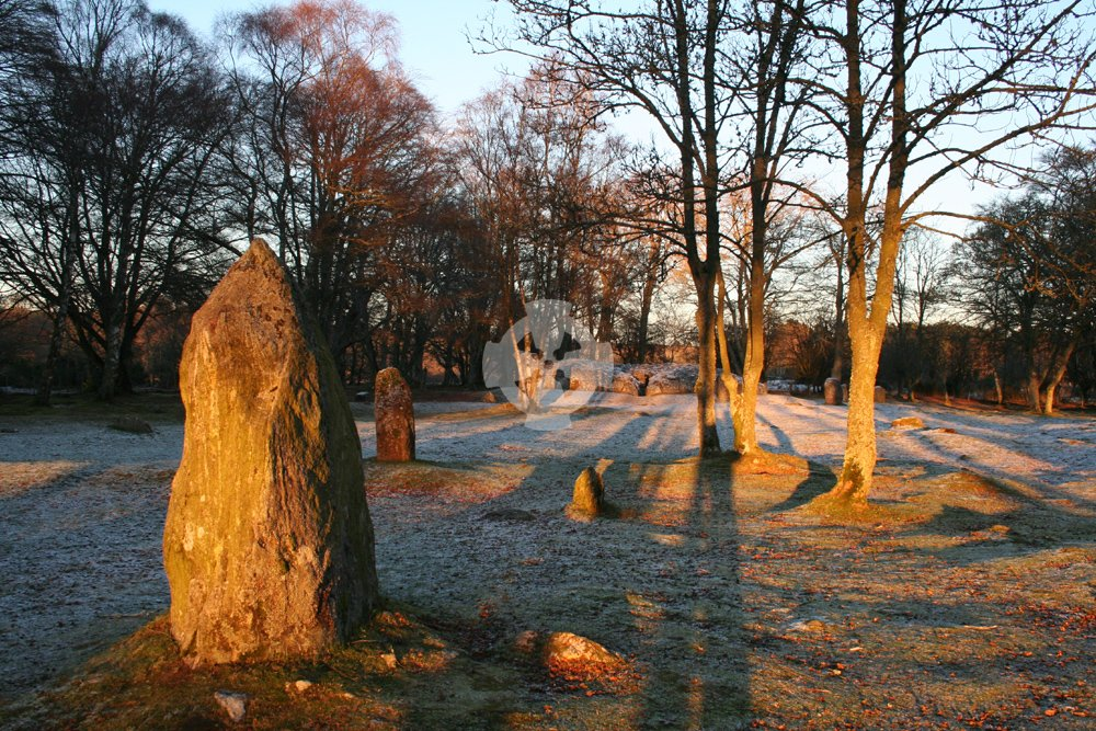 photo of Clava cairns near Inverness, Scotland; taken near midwinter sunset