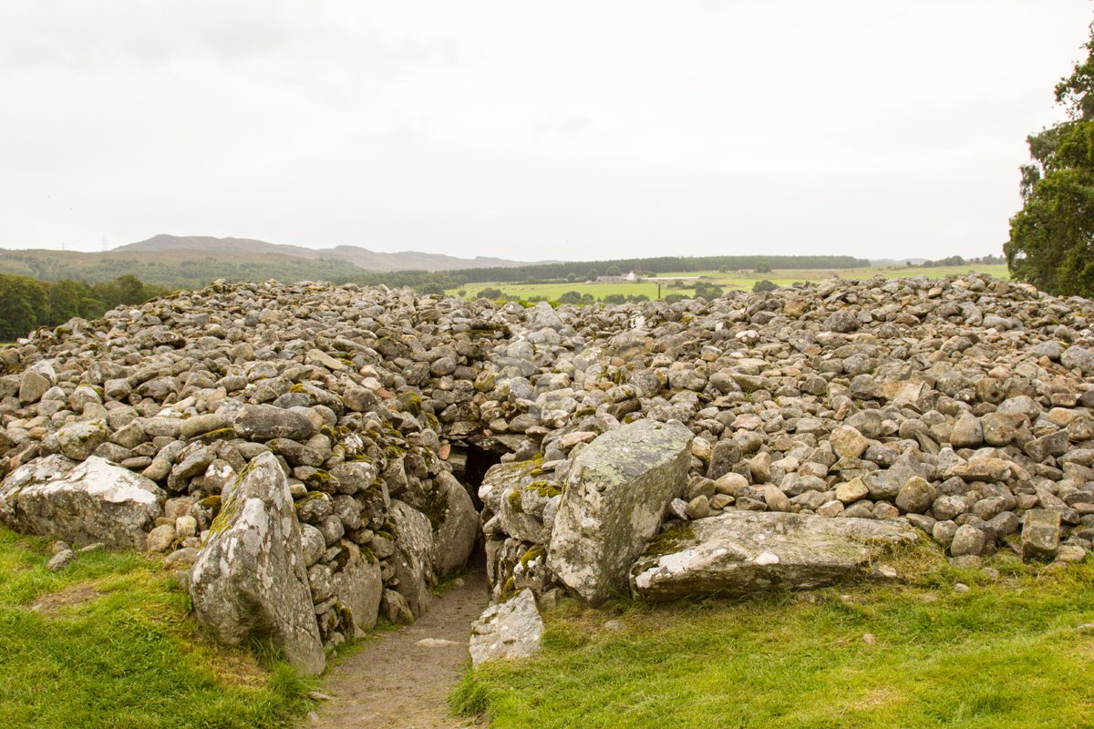 Corrimony chambered cairn showing the entrance passsageway